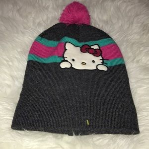 Hello Kitty snow hat in grey and pink one size